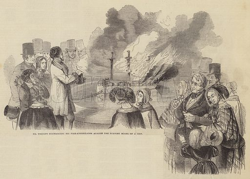 Mr Phillips discharging his Fire-Annihilator against the Burning Model of a Ship. Illustration for The Pictorial Times, 3 January 1846.