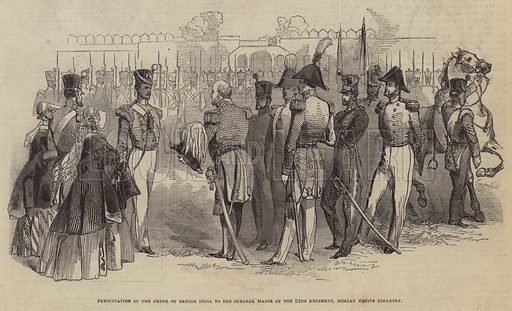 Presentation of the Order of the British India to the Subadar Major of the 24th Regiment, Bombay Native Infantry. Illustration for The Pictorial Times, 17 January 1846.