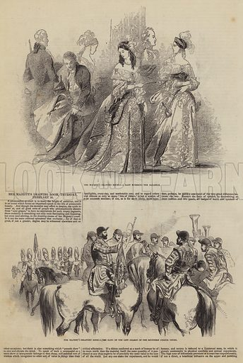 Her Majesty's Drawing Room, Thursday, 26 February. Illustration for The Pictorial Times, 28 February 1846.