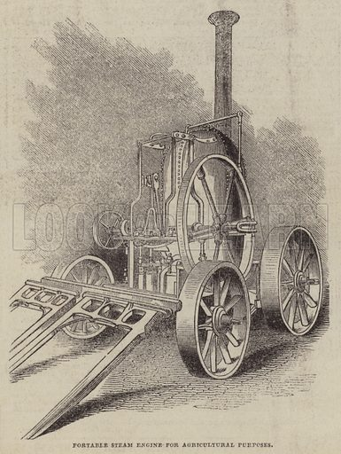 Portable Steam Engine for Agricultural Purposes. Illustration for The Pictorial Times, 7 March 1846.