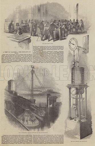 """A Visit to """"Lloyd's,"""" the Insurance of Ships. Illustration for The Pictorial Times, 21 March 1846."""