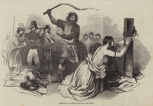 Madame de Kalerdgi receiving the Knout. Illustration for The Pictorial Times, 2 May 1846.