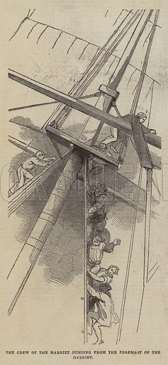 The Crew of the Harriet jumping from the Foremast of the Harriet. Illustration for The Pictorial Times, 9 May 1846.