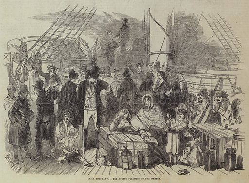 Irish Emigrants, the Recent Collision on the Mersey. Illustration for The Pictorial Times, 6 June 1846.