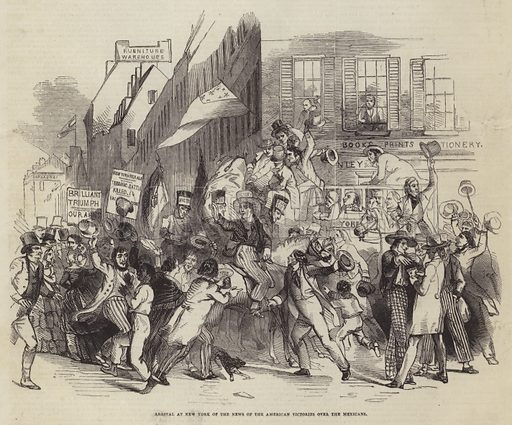 Arrival at New York of the News of the American Victories over the Mexicans. Illustration for The Pictorial Times, 20 June 1846.