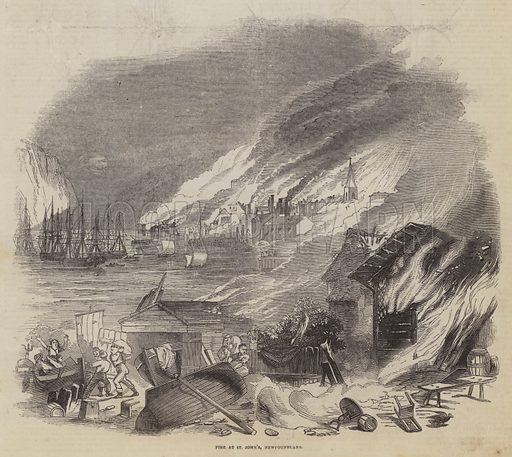 Fire at St John's, Newfoundland. Illustration for The Pictorial Times, 11 July 1846.