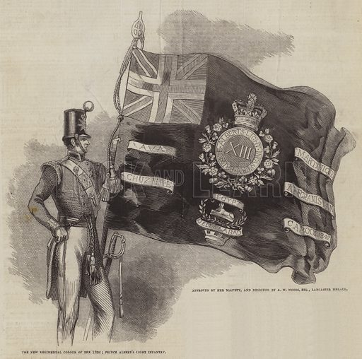 The New Regimental Colour of the 13th Prince Albert's Light Infantry, approved by Her Majesty, and designed by AW Woods, Esquire, Lancaster Herald. Illustration for The Pictorial Times, 15 August 1846.