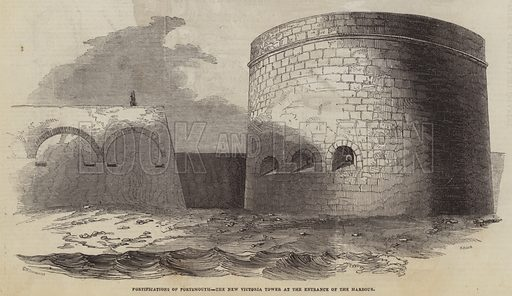 Fortifications of Portsmouth, the New Victoria Tower at the Entrance of the Harbour. Illustration for The Pictorial Times, 15 August 1846.