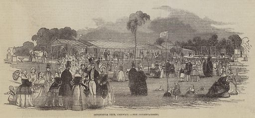 Devonshire Fete, Chiswick, the Conservatories. Illustration for The Pictorial Times, 22 August 1846.
