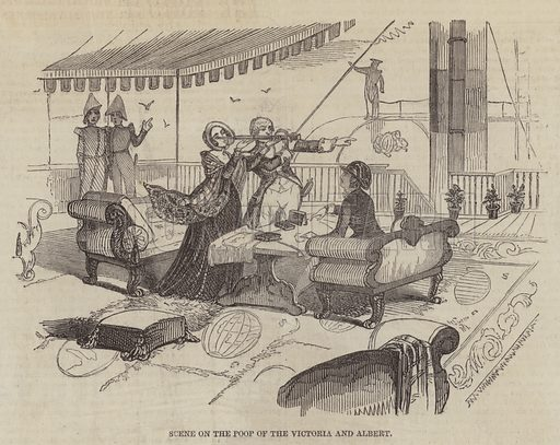 Scene on the Poop of the Victoria and Albert. Illustration for The Pictorial Times, 19 September 1846.