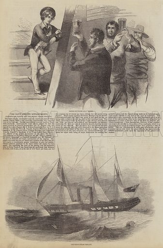 The Navy and its Appointments, Commodore Napier and the Sidon Steam Frigate. Illustration for The Pictorial Times, 19 September 1846.