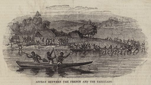 Affray between the French and the Tahitians. Illustration for The Pictorial Times, 26 September 1846.