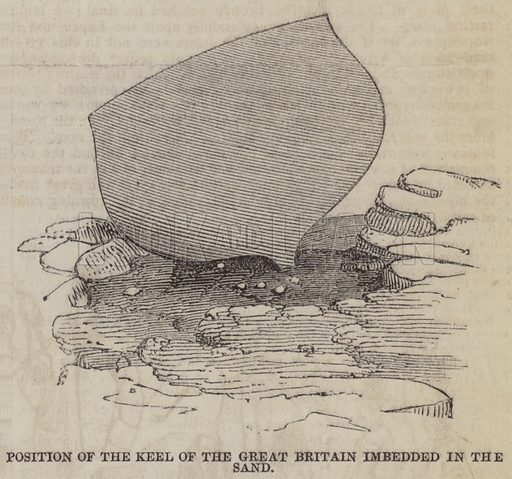 Position of the Keel of the Great Britain imbedded in the Sand. Illustration for The Pictorial Times, 3 October 1846.