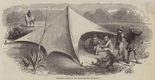 Emigrant's Tent on the River Darling, Australia. Illustration for The Pictorial Times, 10 October 1846.