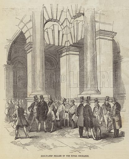 Merchants' Pillars of the Royal Exchange. Illustration for The Pictorial Times, 17 October 1846.