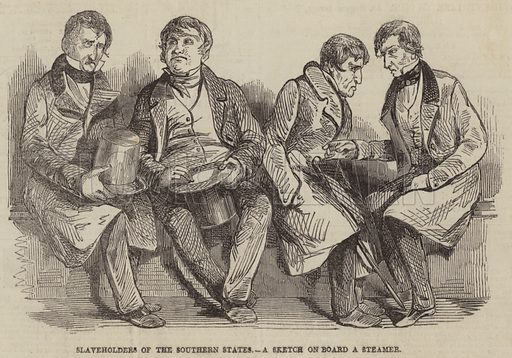 Slaveholders of the Southern States, a Sketch on Board a Steamer. Illustration for The Pictorial Times, 24 October 1846.