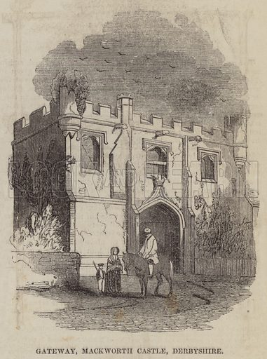 Gateway, Mackworth Castle, Derbyshire. Illustration for The Pictorial Times, 31 October 1846.