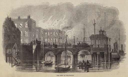 The Fire at Gravesend. Illustration for The Pictorial Times, 28 November 1846.