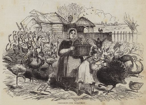 Preparing for Christmas. Illustration for The Pictorial Times, 19 December 1846.