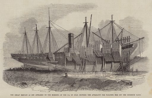 The Great Britain as she appeared on the Morning of 27 July, showing the Apparatus for Floating her off the Dundrum Sands. Illustration for The Pictorial Times, 7 August 1847.