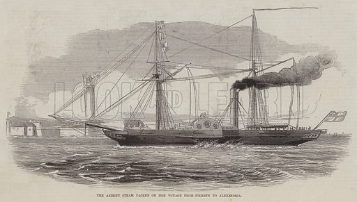 The Ardent Steam Packet on her Voyage from Trieste to Alexandria. Illustration for The Pictorial Times, 25 September 1847.