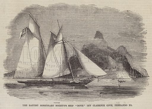 """The Baptist Missionary Society's Ship """"Dove"""" off Clarence Cove, Fernando Po. Illustration for The Pictorial Times, 9 October 1847."""
