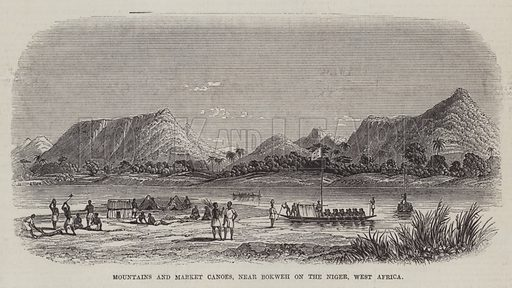 Mountains and Market Canoes, near Bokweh on the Niger, West Africa. Illustration for The Pictorial Times, 23 October 1847.