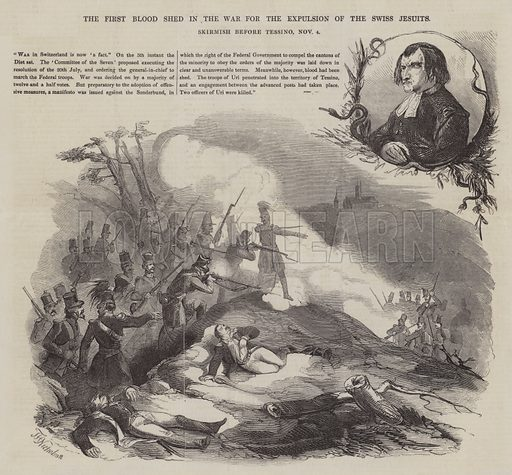 The First Blood Shed in the War for the Expulsion of the Swiss Jesuits, Skirmish before Tessino, 4 November. Illustration for The Pictorial Times, 20 November 1847.