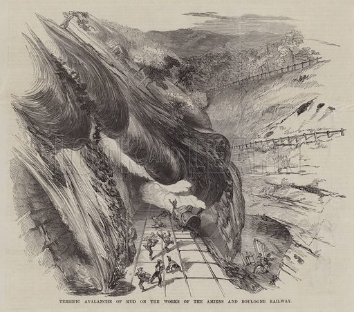 Terrific Avalanche of Mud on the Works of the Amiens and Boulogne Railway. Illustration for The Pictorial Times, 27 November 1847.