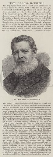 The late Earl of Iddesleigh. Illustration for The Illustrated London News, 15 January 1887.