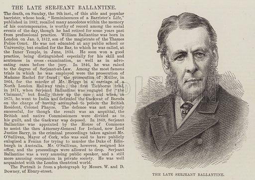 The late Serjeant Ballantine. Illustration for The Illustrated London News, 22 January 1887.