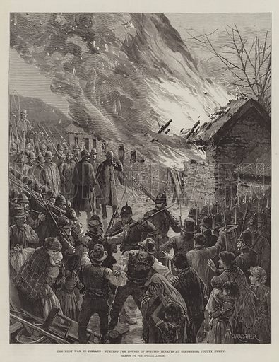 The Rent War in Ireland, burning the Houses of Evicted Tenants at Glenbeigh, County Kerry. Illustration for The Illustrated London News, 29 January 1887.