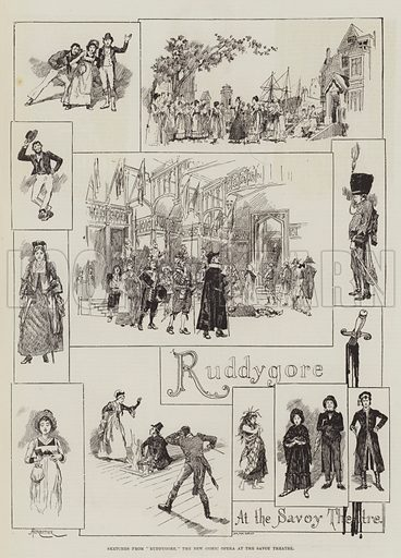 """Sketches from """"Ruddygore,"""" the New Comic Opera at the Savoy Theatre. Illustration for The Illustrated London News, 29 January 1887."""