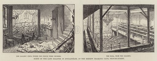 Scene of the late Disaster in Spitalfields, at the Hebrew Dramatic Club, Princes-Street. Illustration for The Illustrated London News, 29 January 1887.