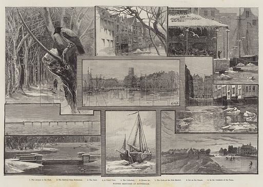 Winter Sketches at Rotterdam. Illustration for The Illustrated London News, 29 January 1887.