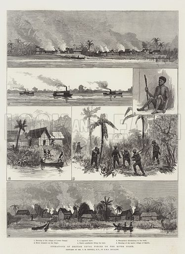 Operations of British Naval Forces on the River Niger. Illustration for The Illustrated London News, 5 February 1887.