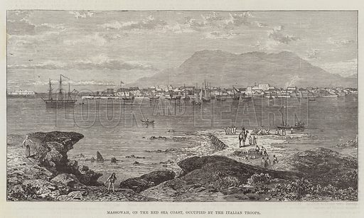 Massowah, on the Red Sea Coast, occupied by the Italian Troops. Illustration for The Illustrated London News, 19 February 1887.