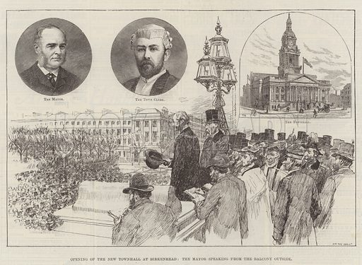 Opening of the New Townhall at Birkenhead, the Mayor speaking from the Balcony outside. Illustration for The Illustrated London News, 19 February 1887.