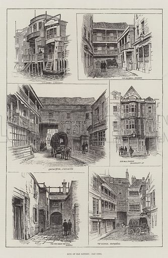 Bits of Old London, Old Inns. Illustration for The Illustrated London News, 26 February 1887.