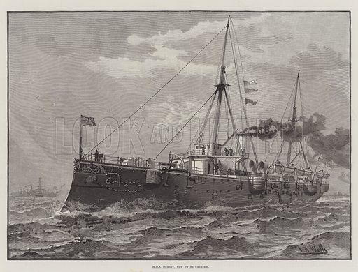 HMS Mersey, New Swift Cruiser. Illustration for The Illustrated London News, 26 February 1887.