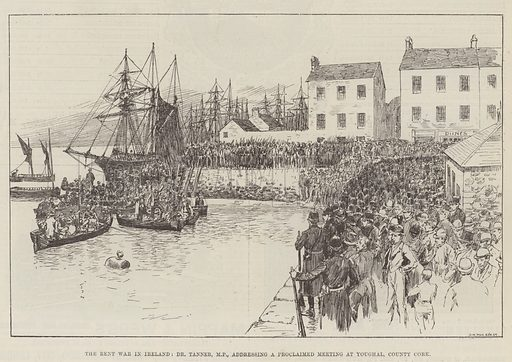 The Rent War in Ireland, Dr Tanner, MP, addressing a Proclaimed Meeting at Youghal, County Cork. Illustration for The Illustrated London News, 5 March 1887.