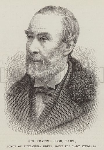 Sir Francis Cook, Baronet, Donor of Alexandra House, Home for Lady Students. Illustration for The Illustrated London News, 19 March 1887.
