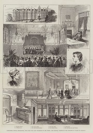 Alexandra House, Kensington, the Home for Lady Students of Art, Music and Science, opened by the Princess of Wales on Monday. Illustration for The Illustrated London News, 19 March 1887.
