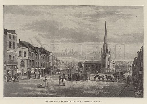 The Bull Ring, with St Martin's Church, Birmingham, in 1812. Illustration for The Illustrated London News, 26 March 1887.