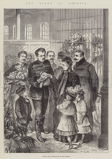 The Queen at Olympia, Young Lions introduced to Her Majesty. Illustration for The Illustrated London News, 2 April 1887.