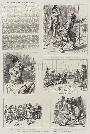 Out with the London Scottish Volunteers, a Reminiscence of Last Easter. Illustration for The Illustrated London News, 9 April 1887.