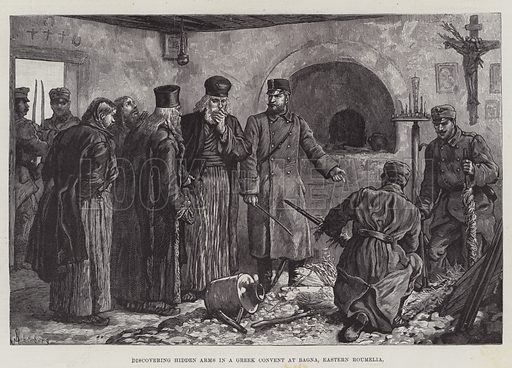 Discovering Hidden Arms in a Greek Convent at Bagna, Eastern Roumelia. Illustration for The Illustrated London News, 23 April 1887.
