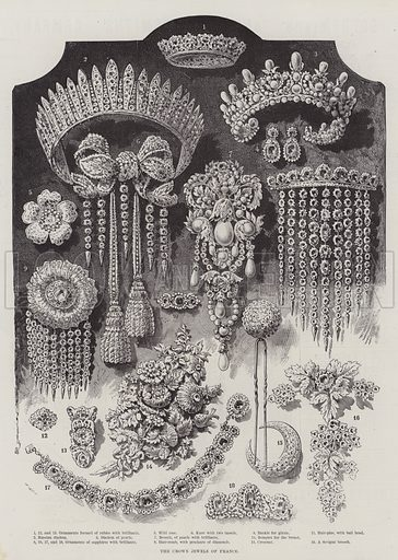 The Crown Jewels of France. Illustration for The Illustrated London News, 23 April 1887.