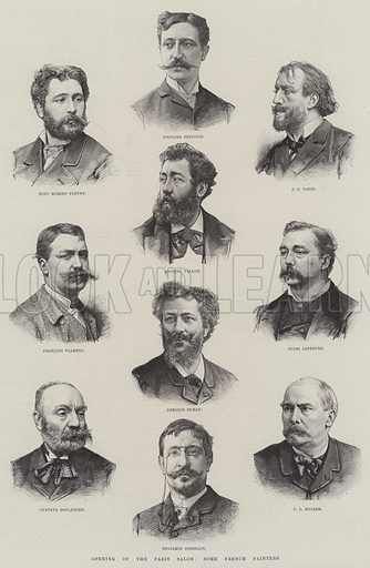Opening of the Paris Salon, Some French Painters. Illustration for The Illustrated London News, 30 April 1887.