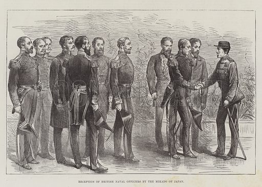 Reception of British Naval Officers by the Mikado of Japan. Illustration for The Illustrated London News, 7 May 1887.